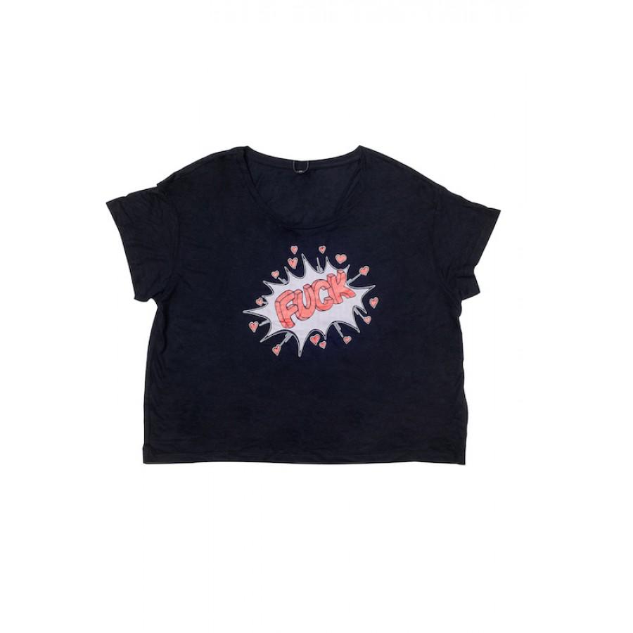 Fuck Retro T-Shirt Black WOMEN