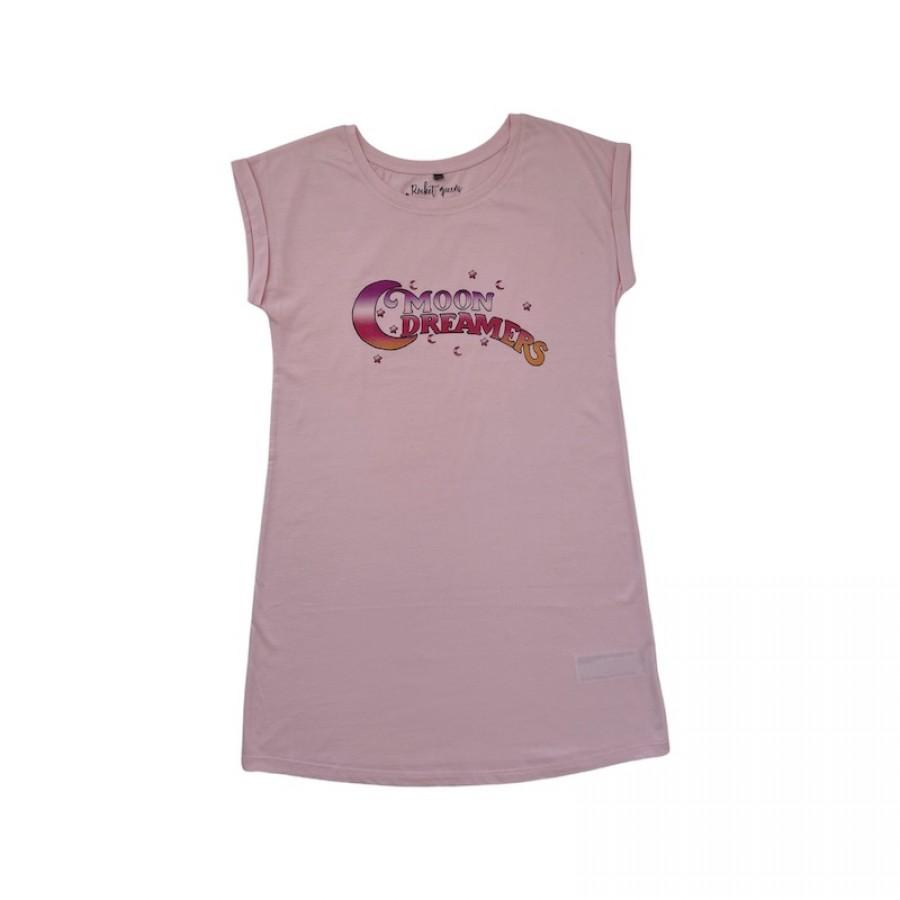 Moon Dreamers T-Shirt Dress Pink WOMEN